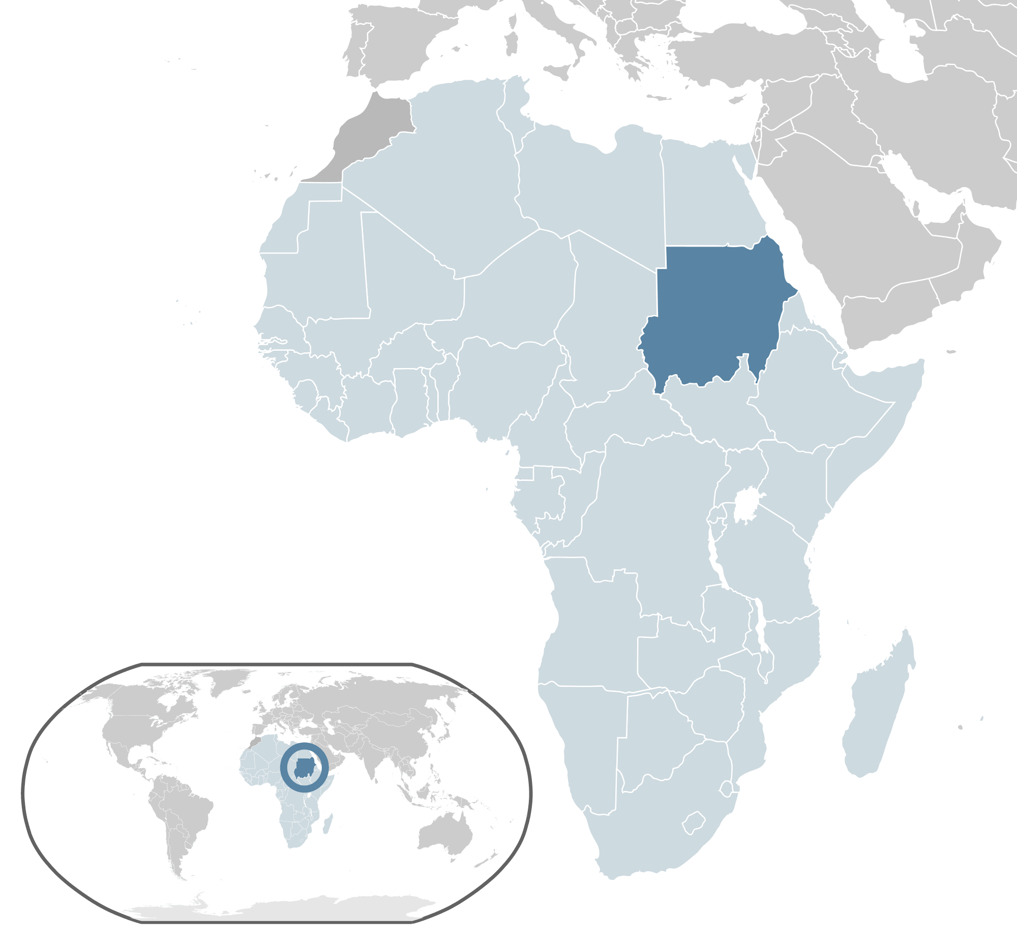 Where Is Sudan Located large map