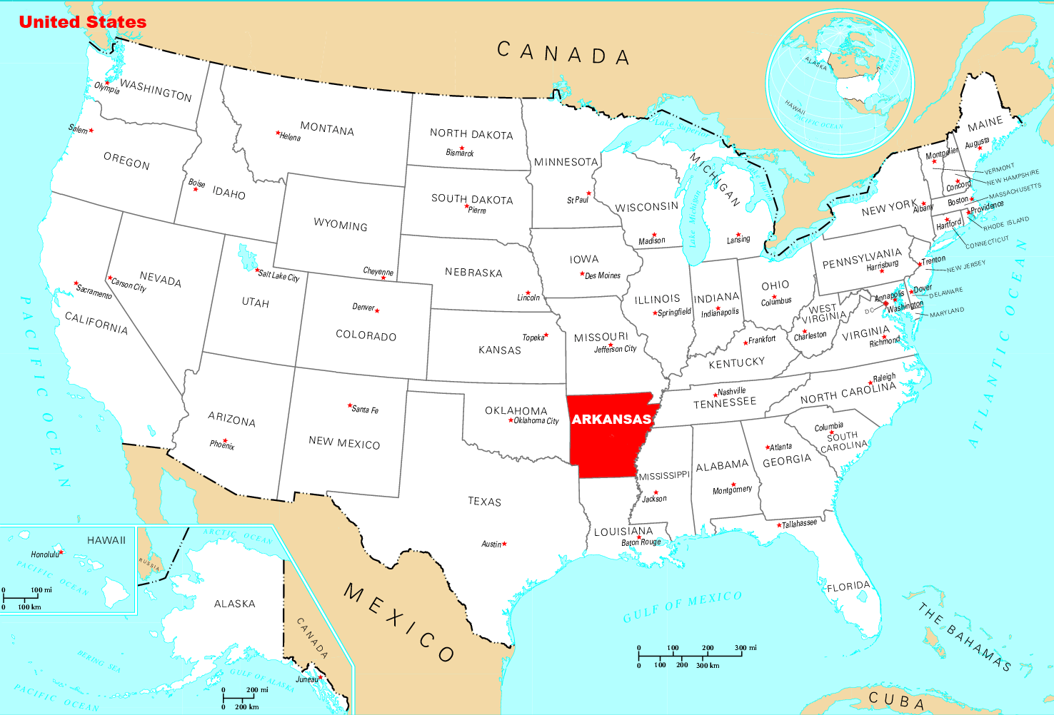 Where Is Arkansas Located large map