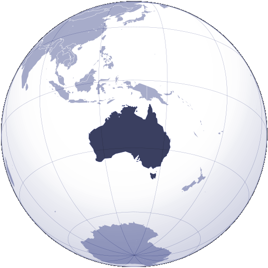 Where Is Australia Located large map