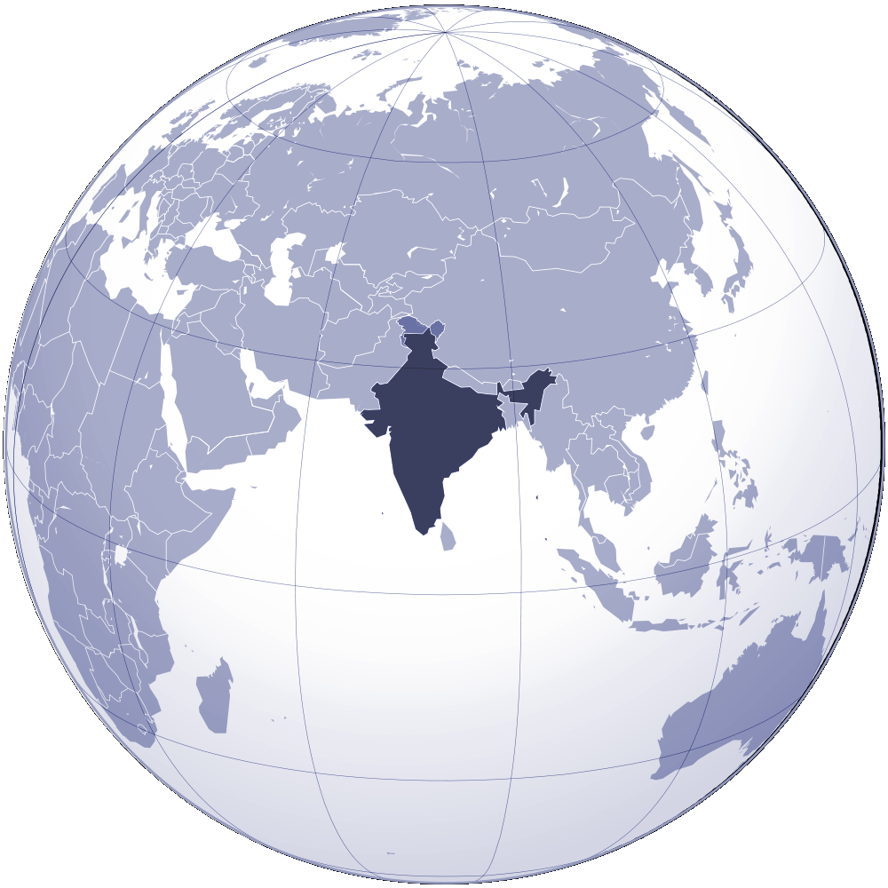 Where Is India Located large map