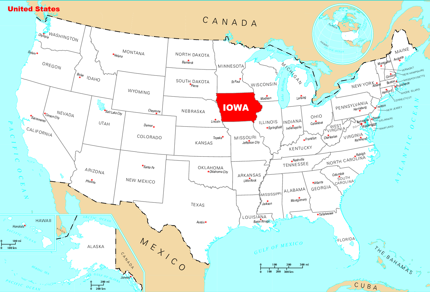 Where Is Iowa Located large map