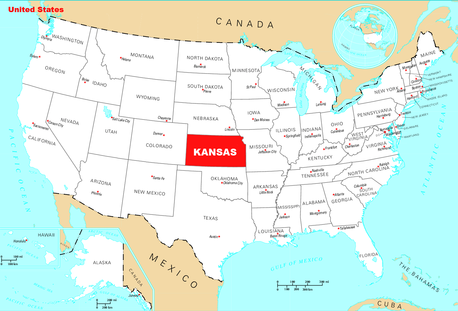 Where Is Kansas Located large map