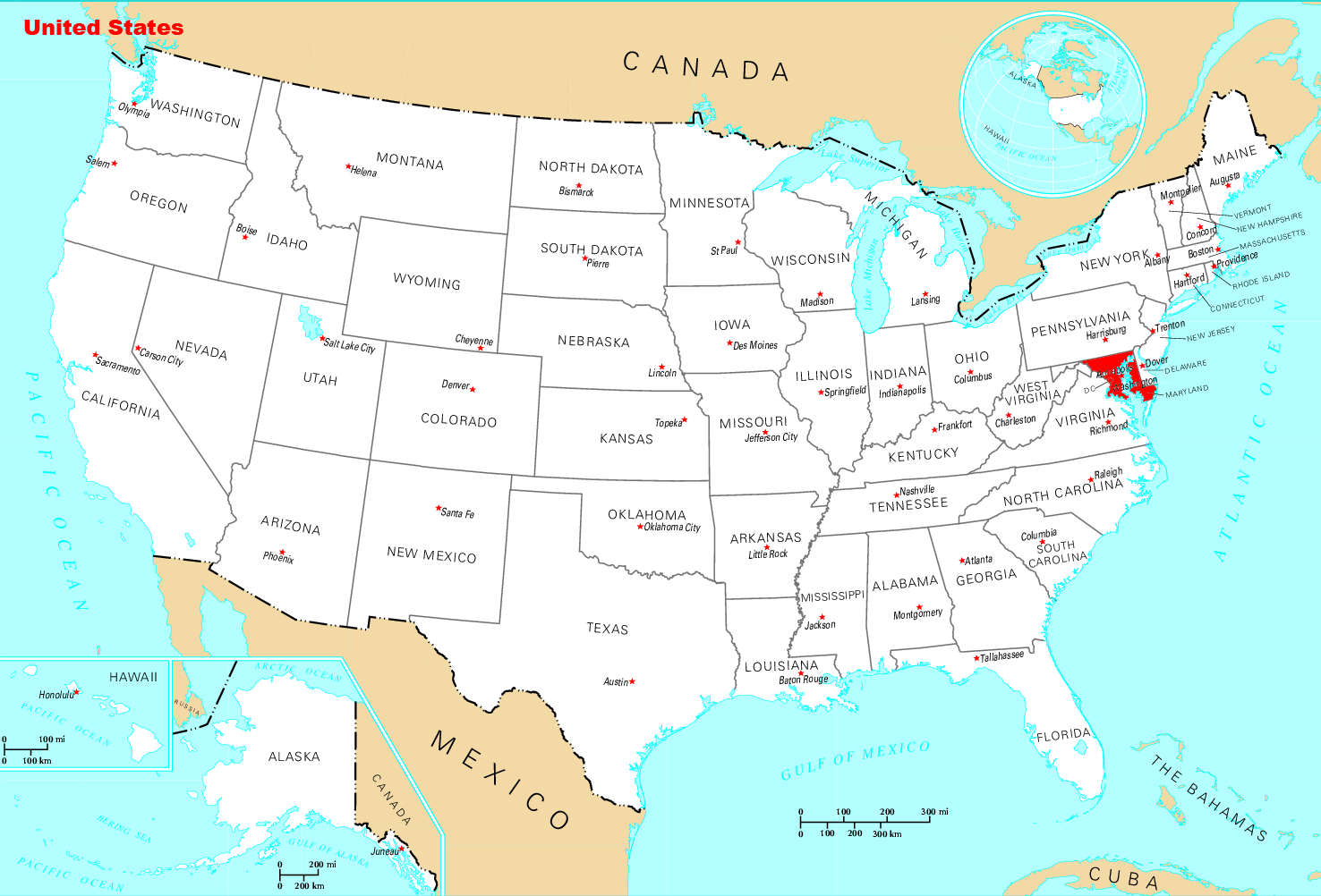 Where Is Maryland Located large map