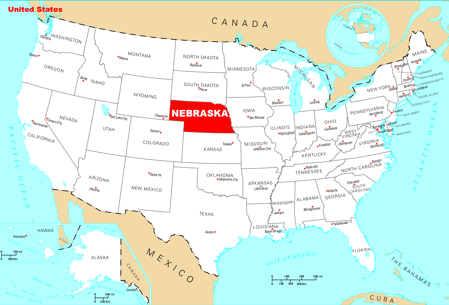 Where Is Nebraska Located large map