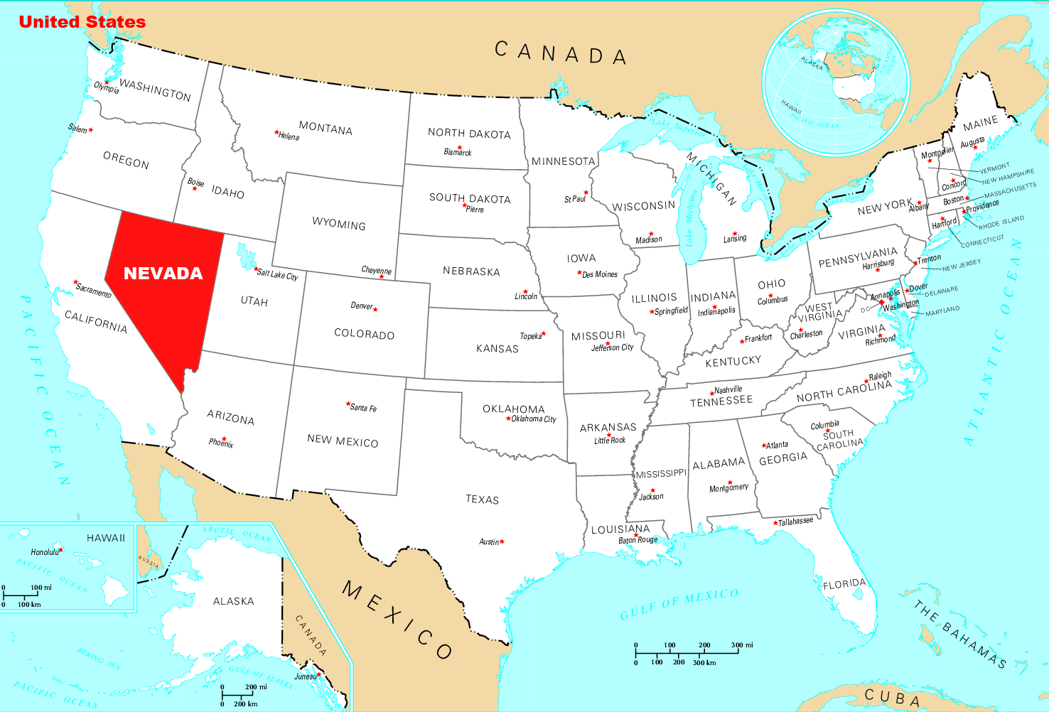 Where Is Nevada Located large map