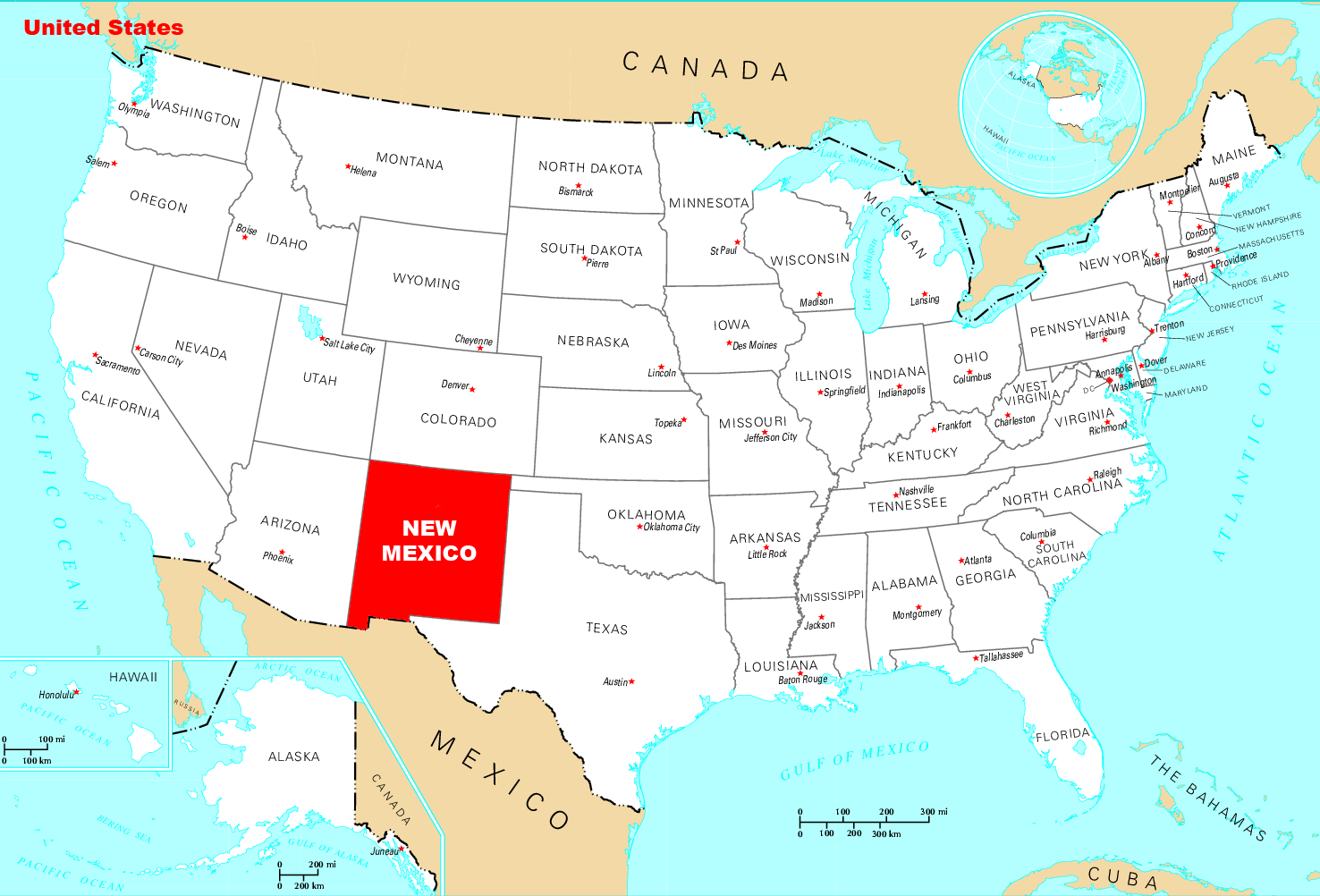 Where Is New Mexico Located large map