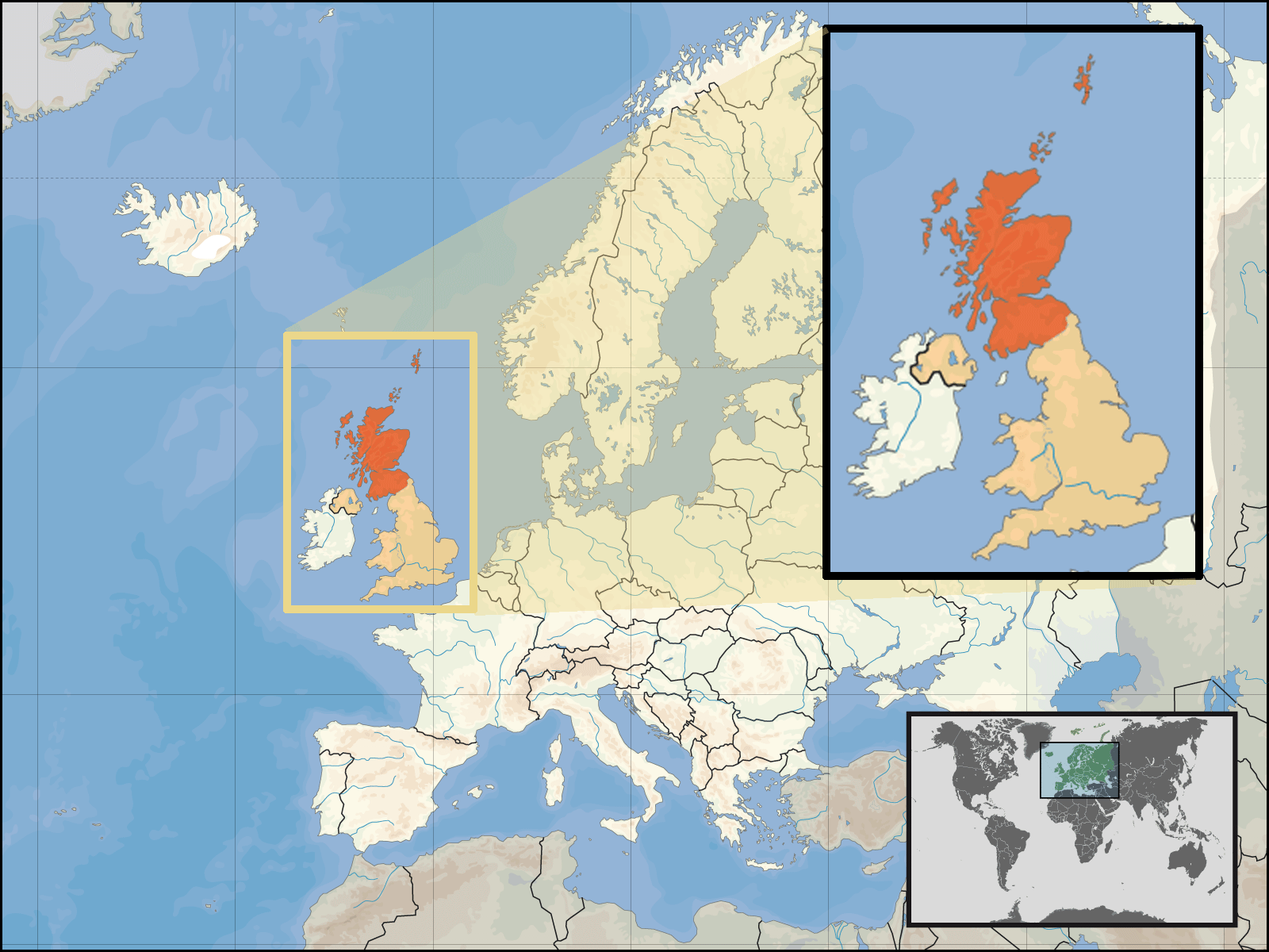 Where Is Scotland Located large map