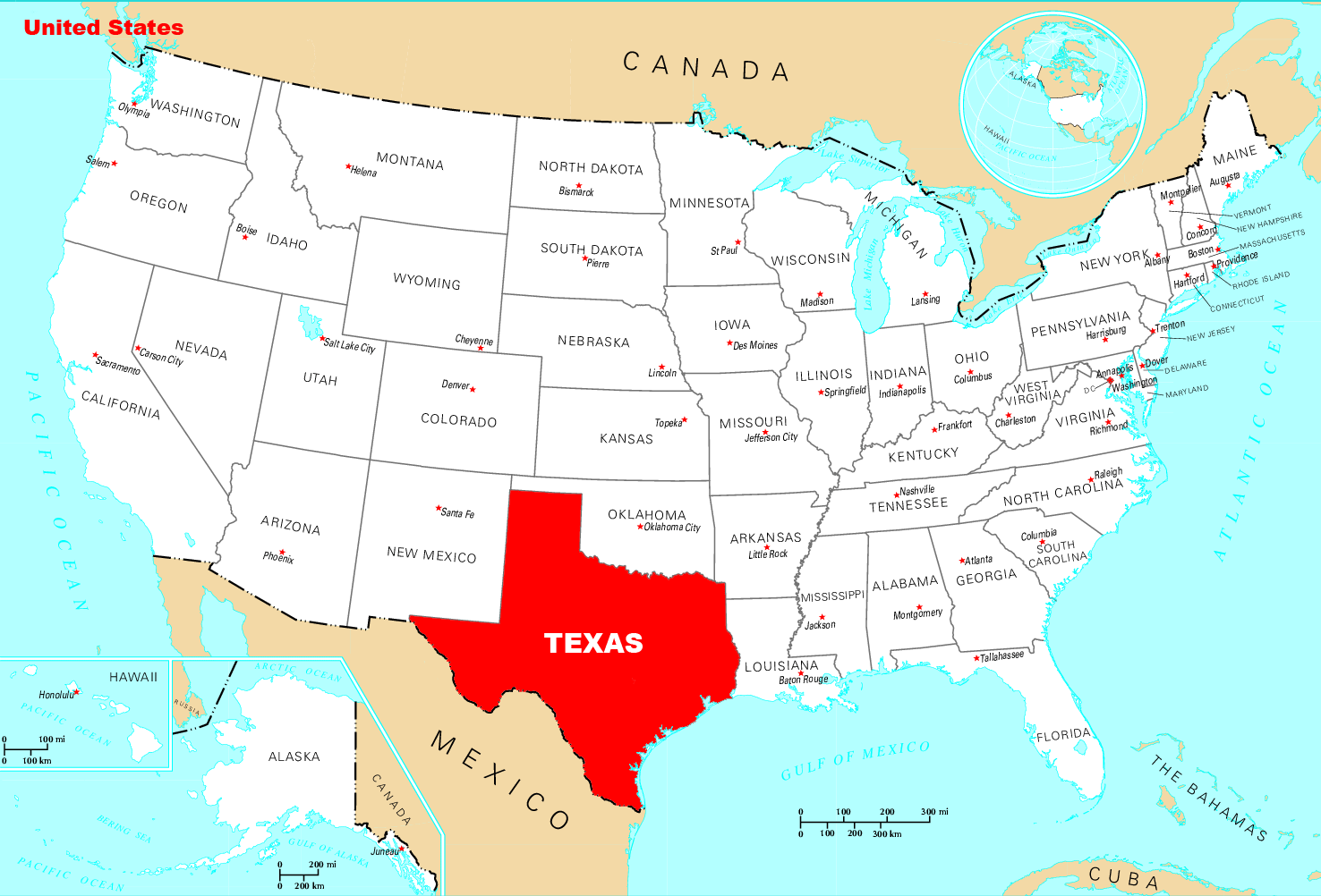 Where Is Texas Located large map
