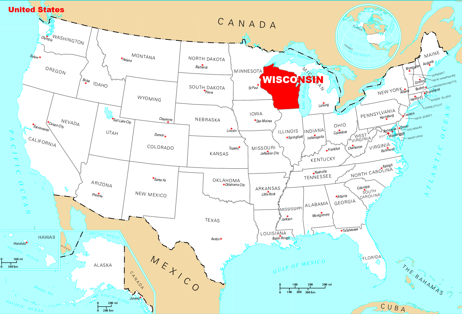 Where Is Wisconsin Located Mapsofnet