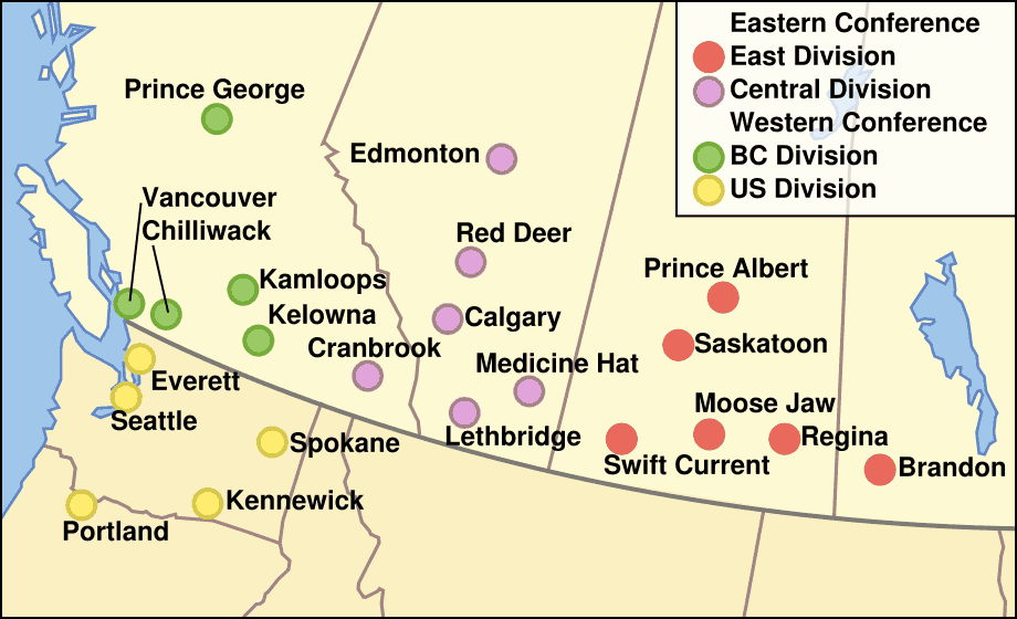 Whl Team Locations large map