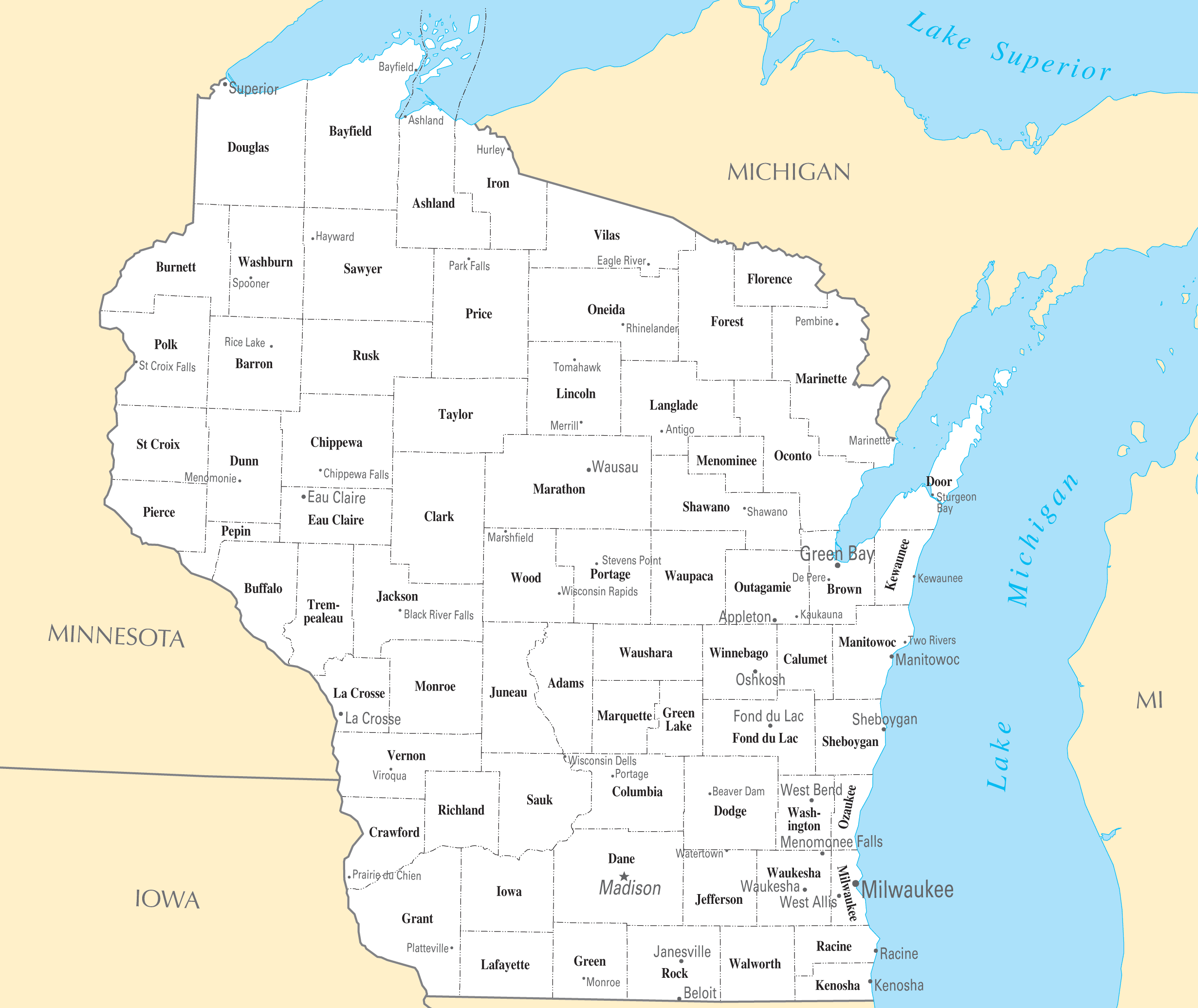Wisconsin Cities And Towns Mapsofnet - Map of wisconsin with cities