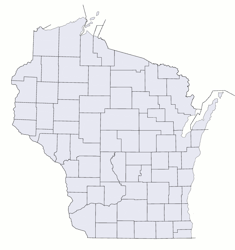 Wisconsin Counties Blank Map • Mapsof.net