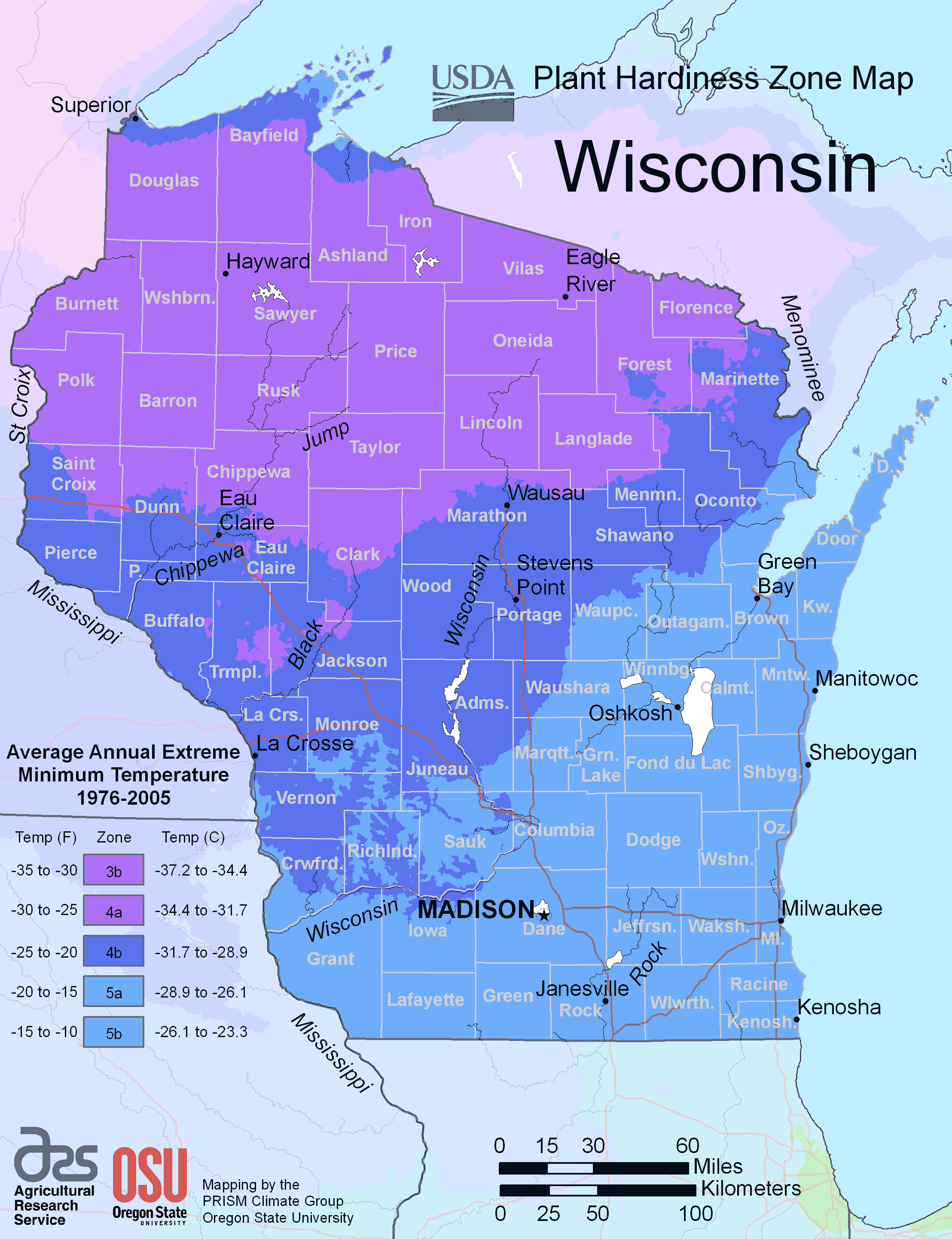 Wisconsin Plant Hardiness Zone Map large map