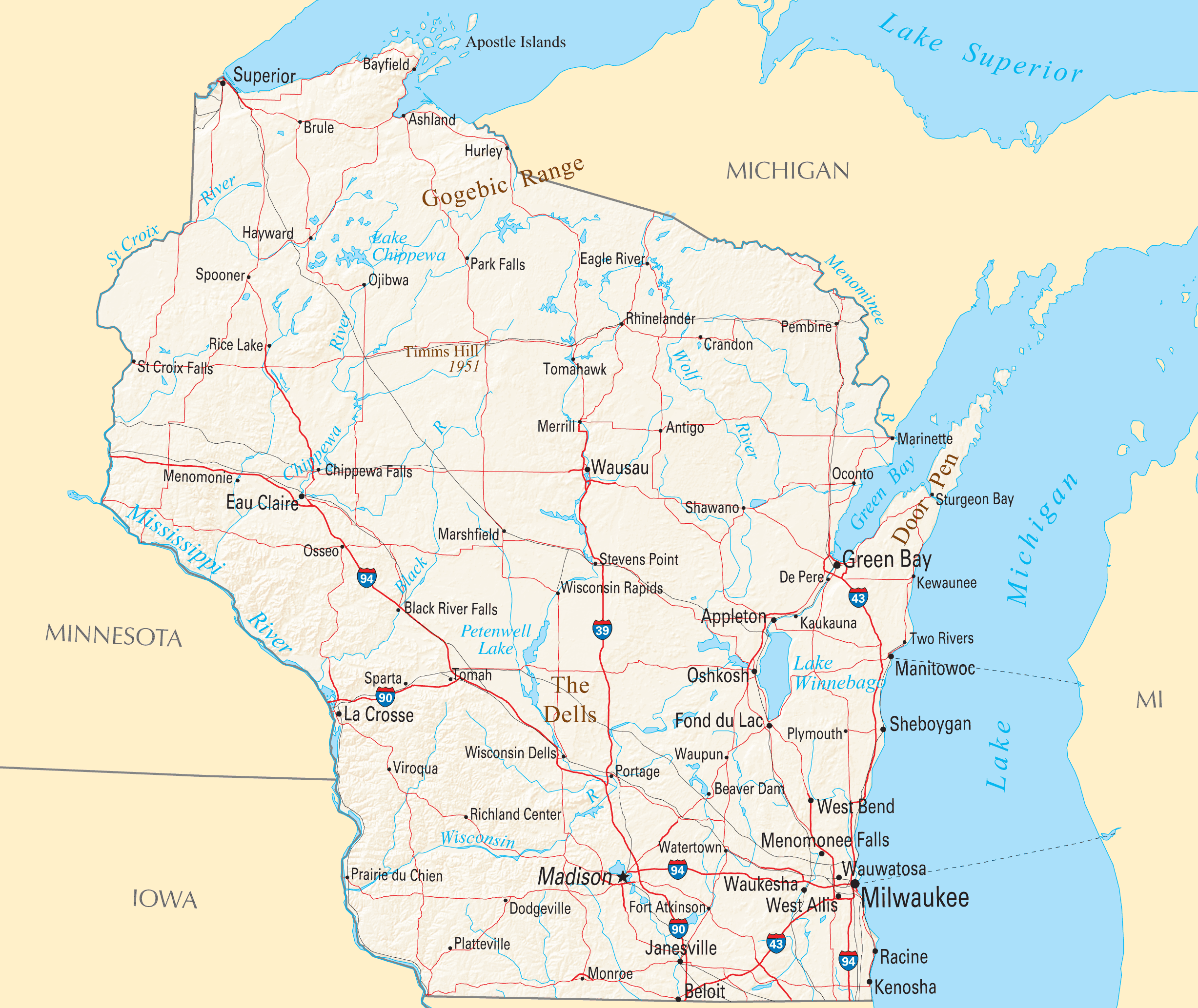 Wisconsin Reference Map Mapsofnet - Map of wisconsin with cities