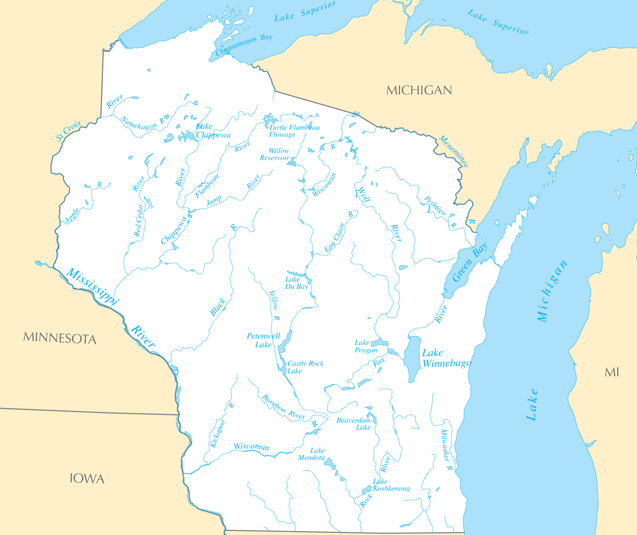 Wisconsin Rivers And Lakes  Mapsof