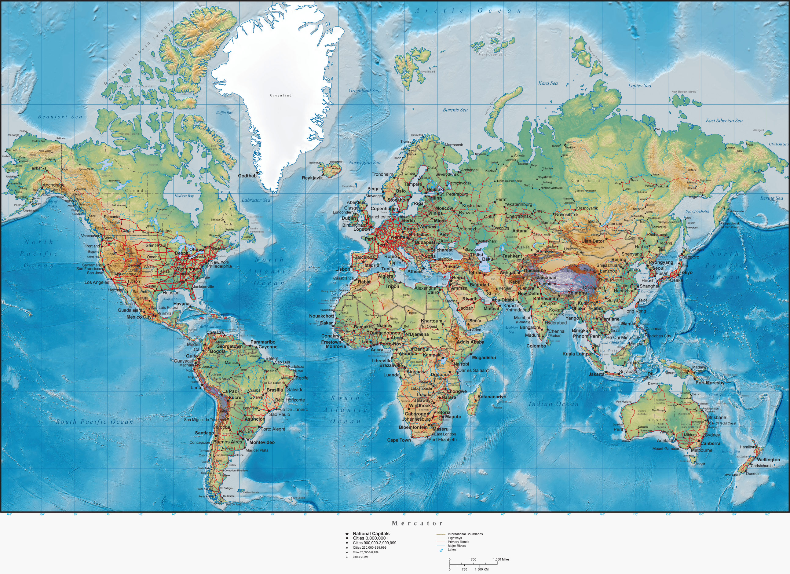 World Physical Map With Cities large map