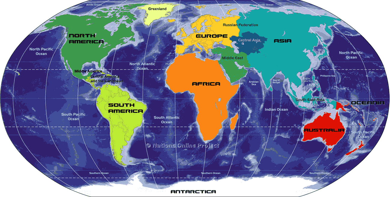 World Oceans And Continents Mapsofnet - Globe map of the world