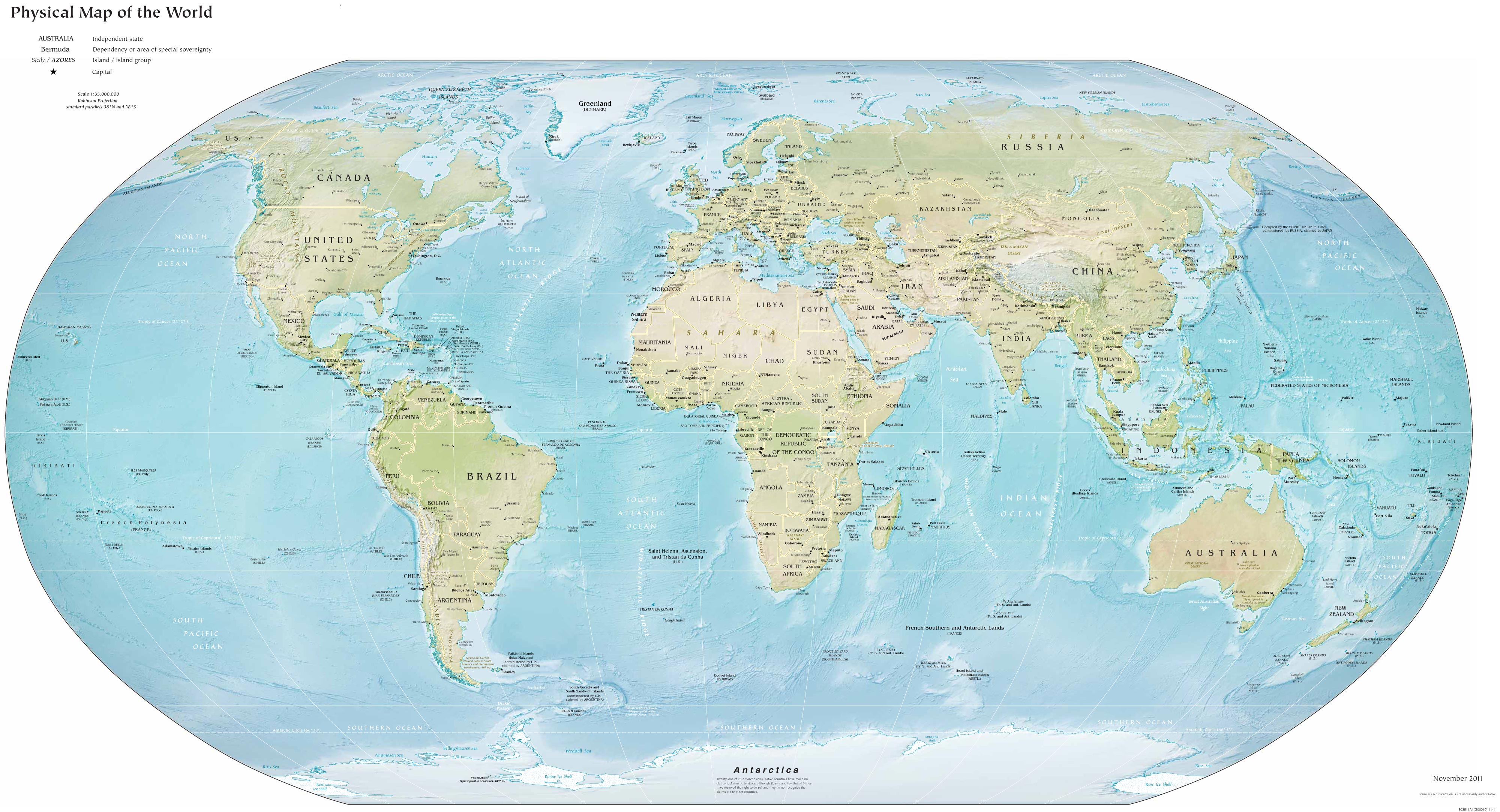 World Physical Map 2012 large map