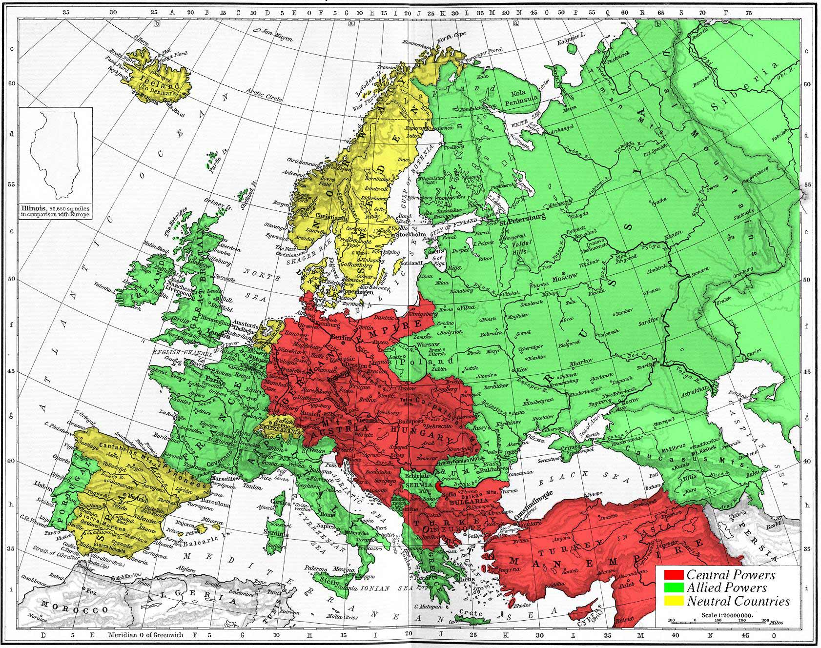 Wwi Alliances Europe 1914 Map • Mapsof.net