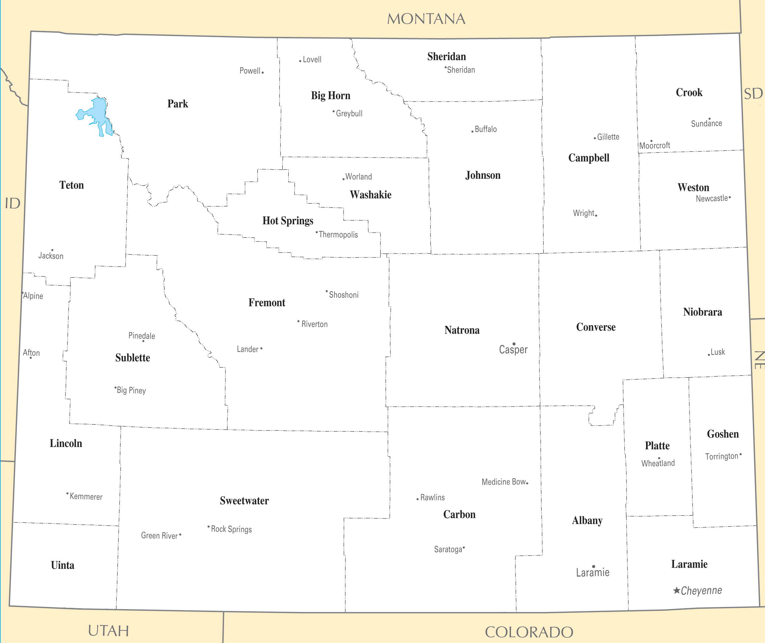 Wyoming Cities And Towns Mapsofnet - Wyoming map with cities