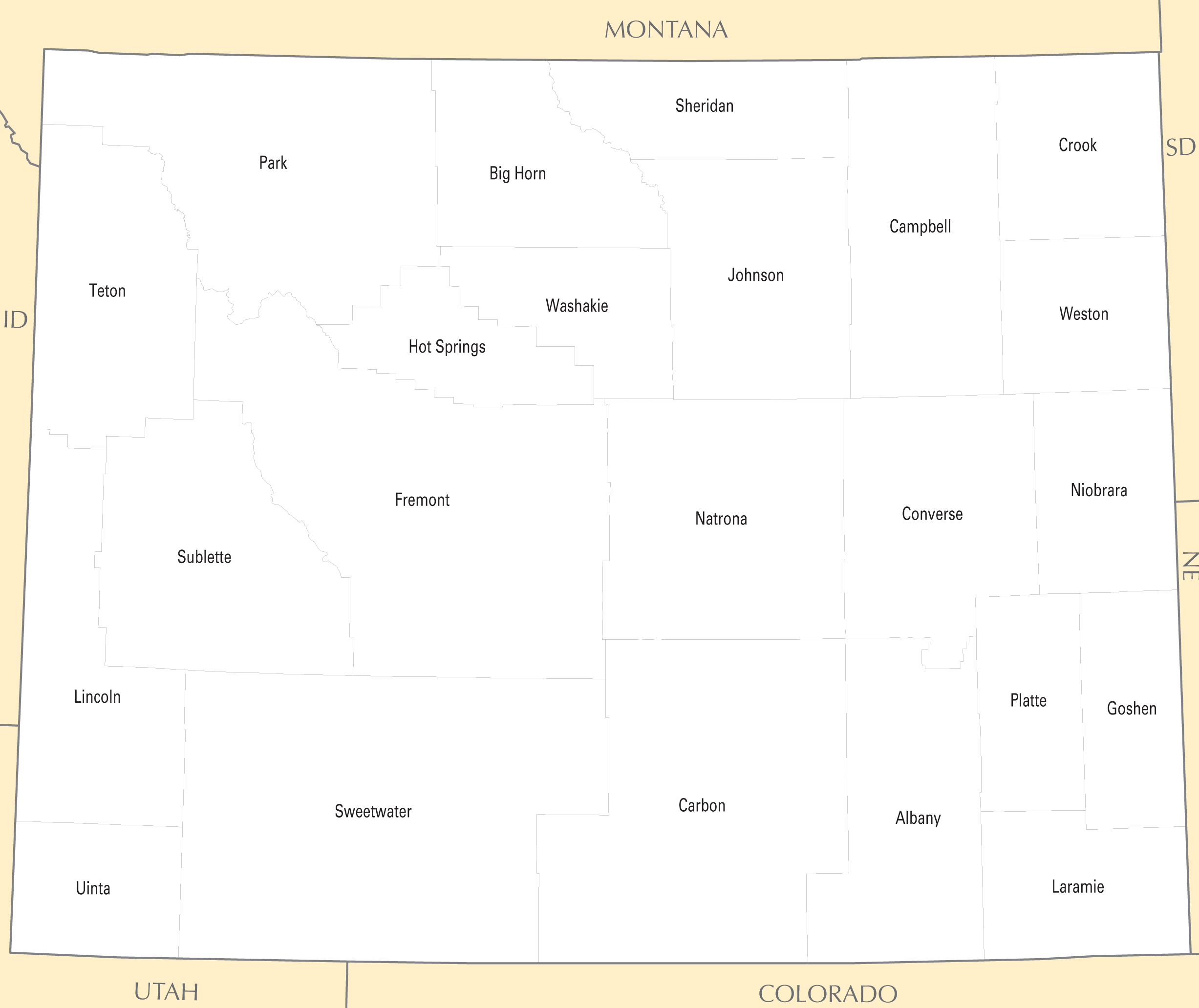 Wyoming County Map large map