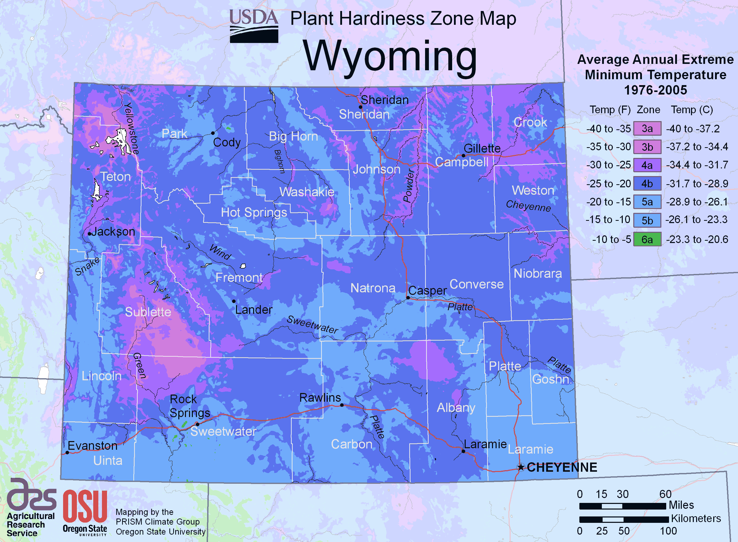 Wyoming Plant Hardiness Zone Map large map