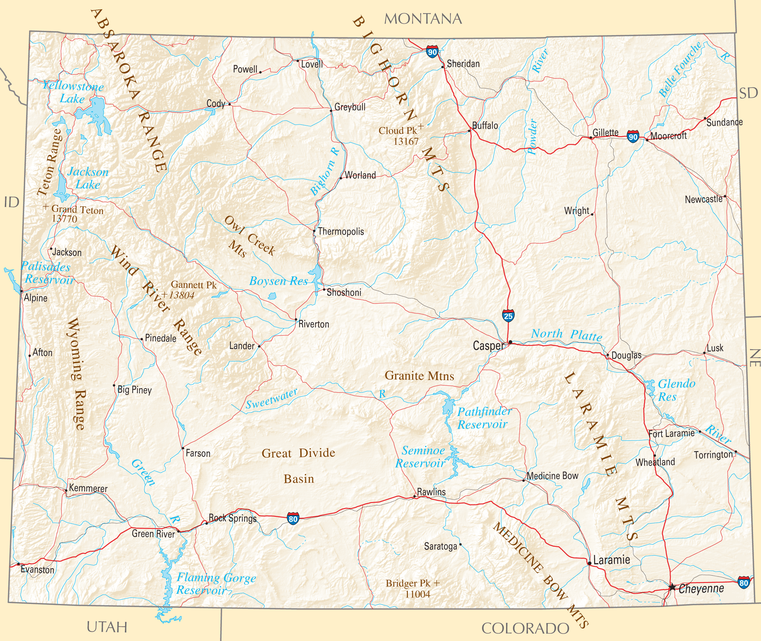 Wyoming Reference Map Mapsofnet - Wyoming map