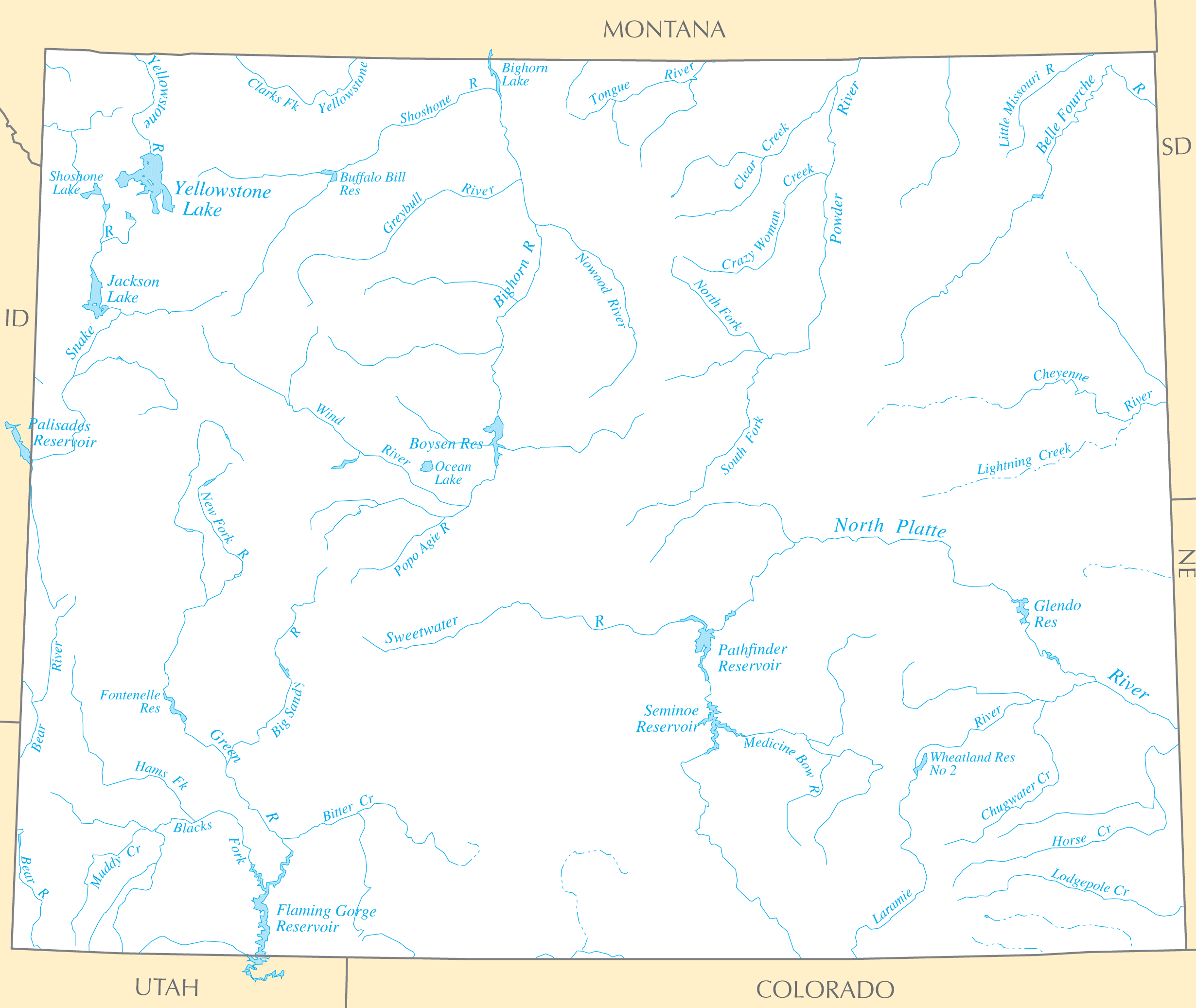 Wyoming Rivers And Lakes large map