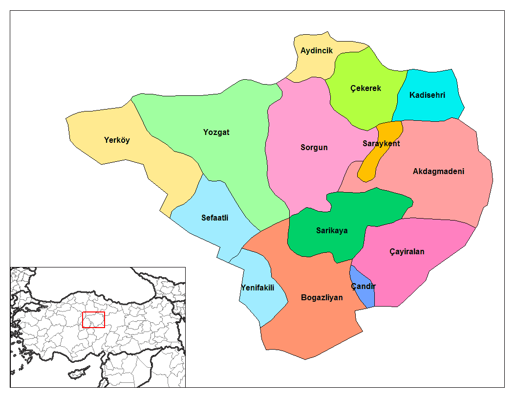 Yozgat Districts large map