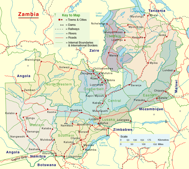Zambia Detailed Map large map