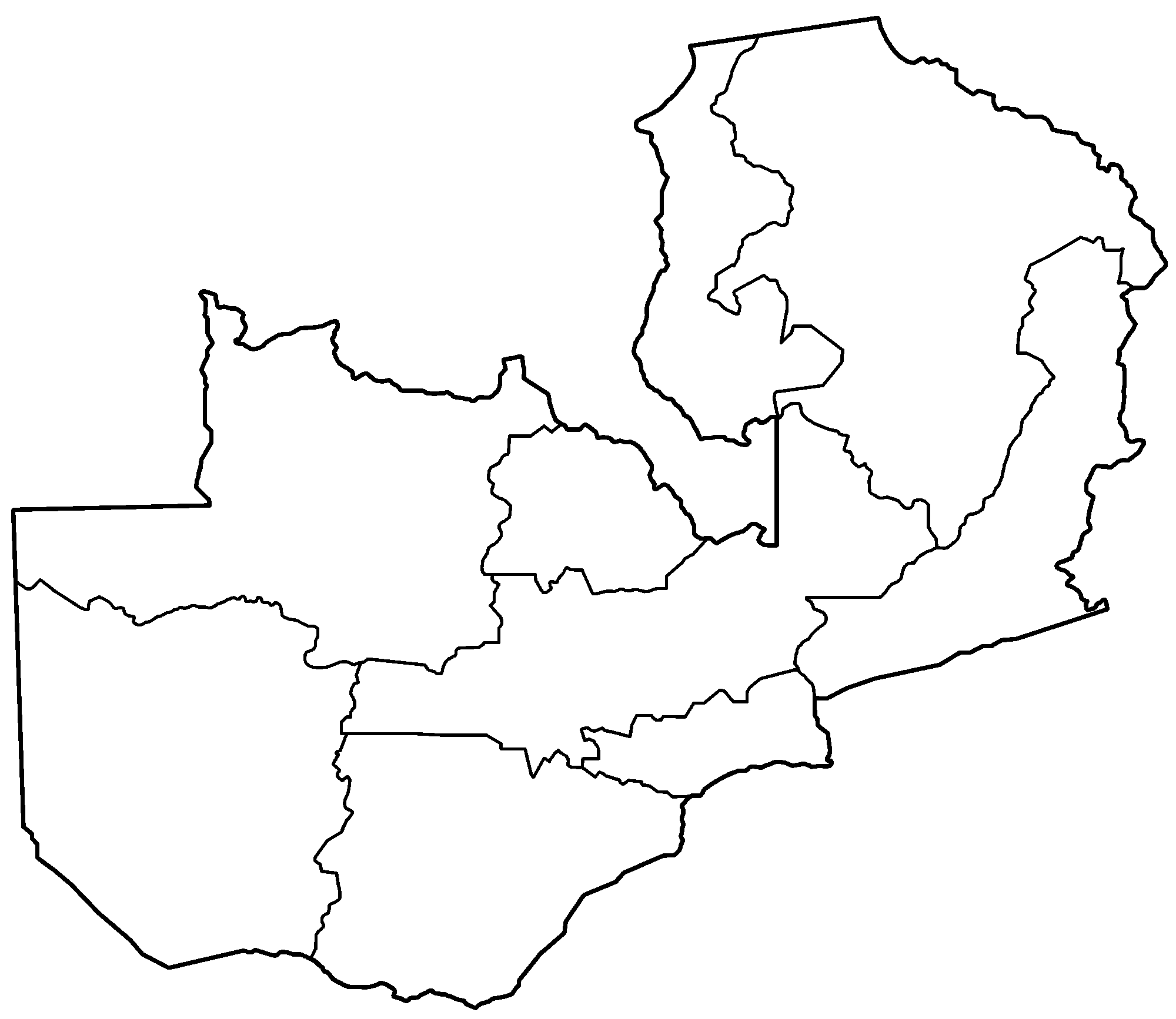 Zambia Provinces Blank