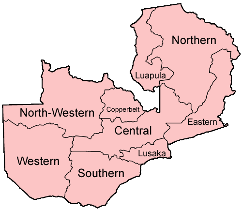 Zambia Provinces Named Mapsofnet