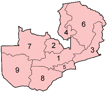 Zambia Provinces Numbered Mapsofnet