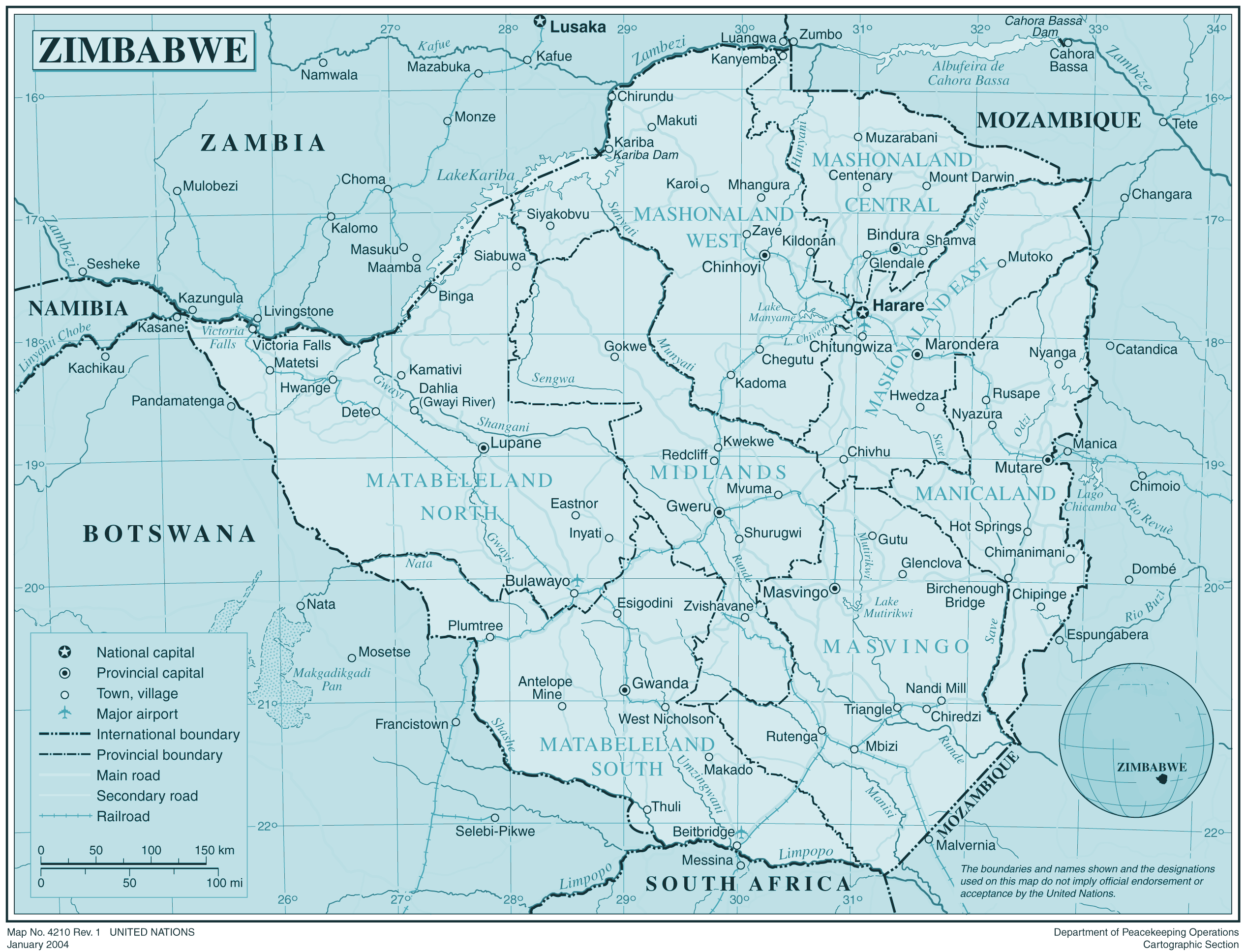 Zimbabwe large map