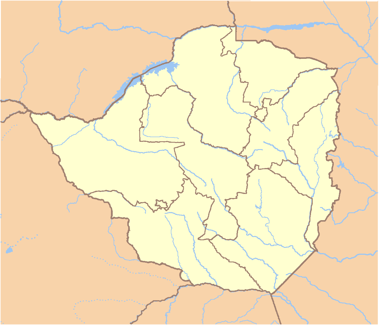 Zimbabwe Locator large map