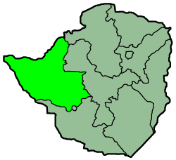 Zimbabwe Provinces Matabele North 250px large map