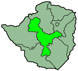 Zimbabwe Provinces Midlands large map