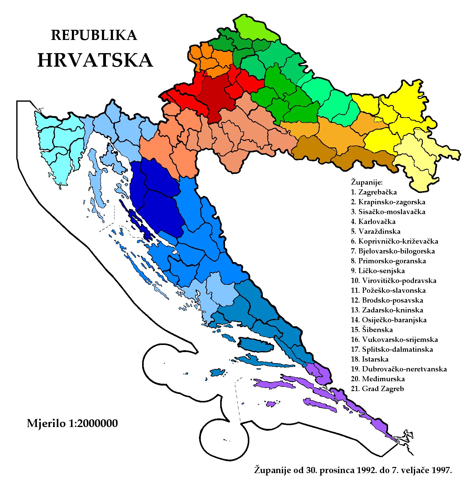 Zupanije Republike Hrvatske Od 1992 12 30 Do 1997 02 07 large map
