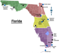 Florida Regions Map With Cities - Mapsof.Net Map