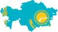 Kazakhstan Flag Map - Mapsof.Net Map