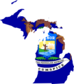 Michigan Flag Map - Mapsof.Net Map