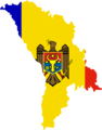 Moldova Flag Map - Mapsof.Net Map