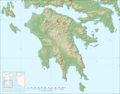 Peloponnese Relief Map Blank - Mapsof.Net Map