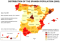 Population Densities In Spain 2005 - Mapsof.Net Map