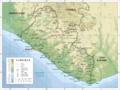 Topographic Map of Liberia - Mapsof.Net Map