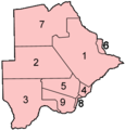 Botswana Districts Numbered - Mapsof.net