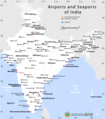 India Airports And Seaports Map - Mapsof.Net Map