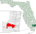 Map of Florida Highlighting Davie - Mapsof.Net Map
