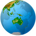 Oceania Globe Map - Mapsof.Net Map