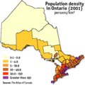 Population Density Ontario - Mapsof.Net Map